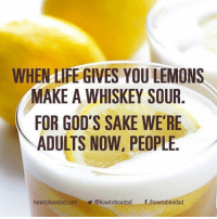 When Life Gives You Lemons: WHEN LIFE GIVES YOU LEMONS  MAKE A WHISKEY SOUR  FOR GOD'S SAKE WE'RE  ADULTS NOW, PEOPLE.  howtobeadad.com@howtobeadadf /howtobeadad