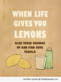 When Life Gives You Lemons: WHEN LIFE  GIVES YOU  LEMONS  SLICE THOSE SUCKERS  UP AND FIND SOME  TEQUILA  Get More Quotes thedailyquotes.com