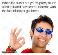 life sucks: When life sucks but you're pretty much  used to it and have come to terms with  the fact it'll never get better  @saahomiememes