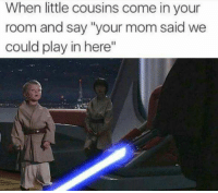 """Memes, 🤖, and Cousins: When little cousins come in your  room and say """"your mom said we  could play in here"""" - Donnie/Trending Memes"""
