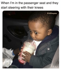 Memes, 🤖, and How: When l'm in the passenger seat and they  start steering with their knees  IG: @thegainz So this is how I die