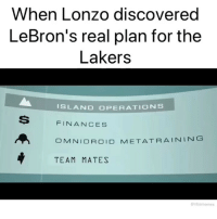 ‪😂😂 (Via ‪bj_swanny‬-Twitter): When Lonzo discovered  LeBron's real plan for the  Lakers  ISLAND OPERATIONS  S  FINANCES  MNIDROID META. TRAINING  TEAM MATES  nbamemes ‪😂😂 (Via ‪bj_swanny‬-Twitter)