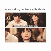 Dumb, Friends, and Girl Memes: when making decisions with friends  HAHAHA Whata dumb idea  Do it Too real