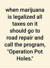 "Memes, Taxes, and Holes: when mariiuana  is leqalized all  taxes on it  should go to  road repair and  call the program,  ""Operation Pot  Holes."""