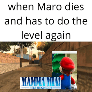 Dank, Memes, and Target: when Maro dies  and has to do the  level again  HERE WE GO AGAIN_ meirl by Giddl MORE MEMES