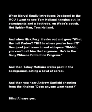 """witness protection: When Marvel finally introduces Deadpool to the  MCU I want to see Tom Holland hanging out, in  sweatpants and a bathrobe, on Wade's couch.  Not Spider-Man, Tom Holland.  And when Nick Fury freaks out and goes """"What  the hell Parker? THIS is where you've been!?!""""  Deadpool just leans in and whispers """"Shhhhh,  you can't call him that anymore. He's in the  Sony Witness Protection Program.""""  And then Tobey McGuire walks past in the  background, eating a bowl of cereal.  And then you hear Andrew Garfield shouting  from the kitchen """"Does anyone want toast?""""  Blind Al says yes."""