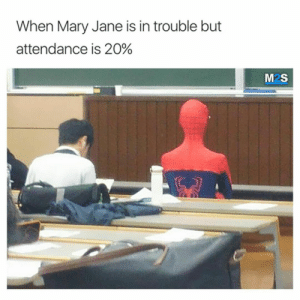 Tumblr, Http, and Com: When Mary Jane is in trouble but  attendance is 20%  M2S Follow us @studentlifeproblems​