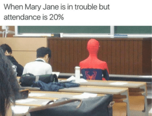 Can, This, and Mary: When Mary Jane is in trouble but  attendance is 20% Can we wrap this up?