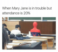 Funny, Mary, and Mary Janes: When Mary Jane is in trouble but  attendance is 20%