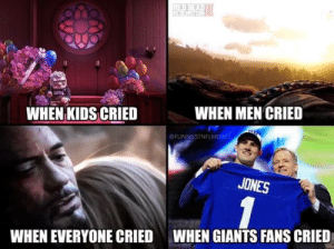 Football, Nfl, and Sports: WHEN MEN CRIED  WHEN KIDS CRIED  @FUNNIESTNELMEMES  JONES  WHEN GIANTS FANS CRIED  WHEN EVERYONE CRIED 😭 https://t.co/TYJsDmm4CH
