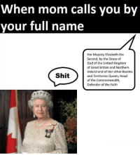 great britain: When mom calls you by  your full name  Her Majesty Elizabeth the  Second, by the Grace of  God of the United Kingdom  of Great Britain and Northern  Ireland and of Her other Realms  and Territories Queen, Head  of the Commonwealth,  Defender of the Faith  Shit