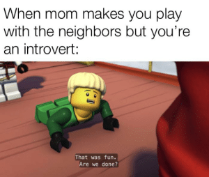 Creating a meme from every Ninjago episode: Season 2 Episode 5: When mom makes you play  with the neighbors but you're  an introvert:  That was fun.  Are we done? Creating a meme from every Ninjago episode: Season 2 Episode 5