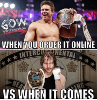 Memes, Wrestling, and World Wrestling Entertainment: WHEN MOU ORDER IT ONLINE  INTERCLANNENTAI  VS WHEN IT COMES Not hating on Ambrose but the miz made the IC title mean something now it doesn't mean anything prowrestling professionalwrestling deanambrose themiz wrestling wrestlingmemes wrestle wrestler wrestlers wwe wweraw wwenxt wweuniverse wweuniversalchampionship wwewrestling wweworldheavyweightchampion wwenetwork wwesuperstars wwebacklash wwememes ajstyles alexabliss braunstrowman jindermahal randyorton worldwrestlingfederation worldwrestlingentertainment