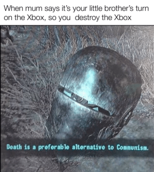 True, Xbox, and Death: When mum says it's your little brother's turn  on the Xbox, so you destroy the Xbox  Death is a preferable alternative to Communism. Based on a true story
