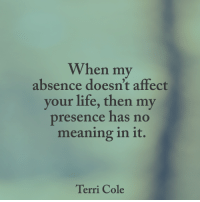 Life, Memes, and Affect: When my  absence doesn't affect  your life, then my  presence has no  meaning in it.  Terri Cole <3