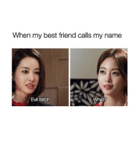 Best Friend, Bitch, and Best: When my best friend calls my name  Evil bitch  What? tag an evil bitch!