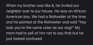 "My brother is stupid af: When my brother was like 6, he invited our  neighbor over to our house. He was an African  American boy. We had a Rottweiler at the time  and he pointed at the Rottweiler and said ""hey  look you're the same color as our dog!"" My  mom had to yell at him not to say that but he  just looked confused. My brother is stupid af"