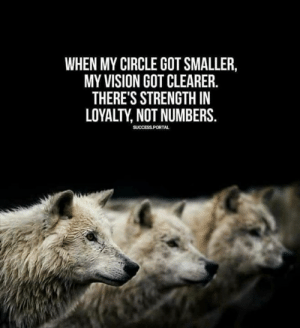Memes, Vision, and Success: WHEN MY CIRCLE GOT SMALLER,  MY VISION GOT CLEARER.  THERE'S STRENGTH IN  LOYALTY, NOT NUMBERS.  SUCCESS PORTA