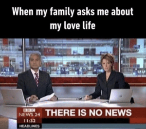 No news. by Koning_Willy_ MORE MEMES: When my family asks me about  my love life  8BC  NEWS 24  THERE IS NO NEWS  11:32  HEADLINES No news. by Koning_Willy_ MORE MEMES