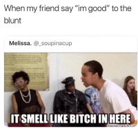 "Bitch, Memes, and Good: When my friend say ""im good"" to the  blunt  Melissa. @_soupinacup  ITSMELL LIKE BITCH IN HERE  memecrunch.co or the bottle 💀"