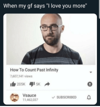 "Love, How To, and Infinity: When my gf says'""I love you more  How To Count Past Infinity  7,607,141 views  205K 5K  Vou1097suescRBED  Vsauce  11,462,037  \/ SUBSCRIBED  . Youll all find someone someday."
