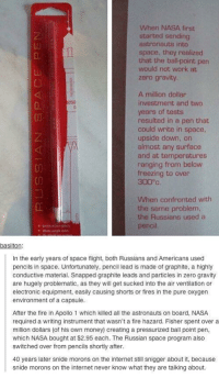 boths: When NASA first  started sending  astronauts into  space, they realized  that the ball-point pen  would not work at  zero gravity  A million dollar  investment and two  years of tests  resulted in a pen that  could write in space  upside down, on  almost any surface  and at temperatures  ranging from below  freezing to oven  300°c  When confronted with  the same problem,  the Russians used a  pencil  basilton  In the early years of space flight, both Russians and Americans used  pencils in space. Unfortunately, pencil lead is made of graphite, a highly  conductive material. Snapped graphite leads and particles in zero gravity  are hugely problematic, as they will get sucked into the air ventilation or  electronic equipment, easily causing shorts or fires in the pure oxygen  environment of a capsule.  After the fire in Apollo 1 which killed all the astronauts on board, NASA  required a writing instrument that wasn't a fire hazard. Fisher spent over a  million dollars (of his own money) creating a pressurized ball point pen,  which NASA bought at $2.95 each. The Russian space program also  switched over from pencils shortly after  40 years later snide morons on the internet still snigger about it, because  snide morons on the internet never know what they are talking about.