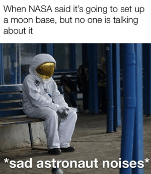 Dank, Memes, and Nasa: When NASA said it's going to set up  a moon base, but no one is talking  about it  sad astronaut noises* S c i e n c e by SomethingFunnyOrNeat MORE MEMES