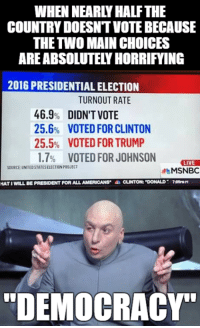 "president: WHEN NEARLY HALFTHE  COUNTRYDOESNTVOTE BECAUSE  THE TWO MAIN CHOICES  AREABSOLUTELYHORRIFYING  2016 PRESIDENTIAL ELECTION  TURNOUT RATE  46.9% DIDN'T VOTE  25.6% VOTED FOR CLINTON  25.5% VOTED FOR TRUMP  1.7% VOTED FOR JOHNSON  LIVE  SOURCE UNITED STATESELECTIONPROJECT  MSNBC  HATIWILL BE PRESIDENT FORALLAMERICANS  a CLINTON: ""DONALD R7tSmn  ""DEMOCRACY"