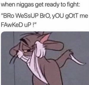 "Fight, You, and Bro: when niggas get ready to fight:  ""BRo WeSsUP BrO, yOU gOtT me  FAwKeD uP!"""