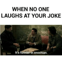 Memes, 🤖, and Funnier: WHEN NO ONE  LAUGHS AT YOUR JOKE  It's funnier in enochian. Lol xd -munia