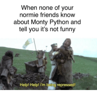 monty python: When none of your  normie friends know  about Monty Python and  tell you it's not funny  Help! Help! I'm being repressed!