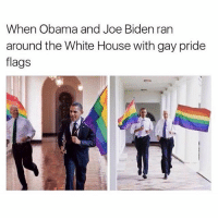 I know you're still in office but I MISS YOU BOTH SO MUCH ALREADY ❤️🏳️‍🌈: When Obama and Joe Biden ran  around the White House with gay pride  flags I know you're still in office but I MISS YOU BOTH SO MUCH ALREADY ❤️🏳️‍🌈