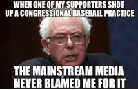 🤔 (LC): WHEN ONE OF MY SUPPORTERS SHOT  UP A CONGRESSIONAL BASEBALL PRACTICE  THE MAINSTREAM MEDIA  NEVER BLAMED ME FOR IT 🤔 (LC)