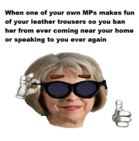 Dank Memes, Mps, and Whom: When one of your own MPs makes fun  of your leather trousers so you ban  her from ever coming near your home  or speaking to you ever again Whom made this, it's a corker
