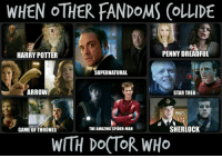 Doctor Who Meme: WHEN OTHER FANDOMS (OLLIDE  PENNY DREADFUL  HARRY POTTER  SUPERNATURAL  ARROW  STAR TREK  SHERLOCK  THE AMAZING SPIDER-MAN  GAME OF THRONES  WITH DOCTOR WHO