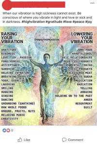 earthing: When our vibration is high sickness cannot exist. Be  conscious of where you vibrate in light and love or sick and  in darkness. #highvibration #gratitude #love #peace #joy  RAISING  YOUR  VIBRATION  LOWERING  YOUR  VIBRATION  JUNK FOOD  HARD ALCOHOL  TOXIC RELATIONSHIPS  NEGATIVE THOUGHTS  ENVIRONMENTAL TOXINS  TOXIC PRODUCTS  EXCESS RED MEAT  HITE SUGAR  MEDICATION  RADIATION  YELLING  ARGUING  HOLDING ON TO THE PAST  ANGER  RESENTMENT  GUILT  GRATITUDE  KINDNESS  LOVE ;.JOY. PASSION  FORGIVENESS  ACCCEPTANCE  SUNSHINE  WALKING IN NATURE  BREATHING DEEPLY  YOGA EXERCISE  LAUGHING  SMI LING  HUGGING  SINGING  DANCING  GROUNDING (EARTHING)  RAW WHOLE FOODS  GREENS FRUITS, NUTS  RELAXING MUSIC  CREATIVITY  009  Like  comment