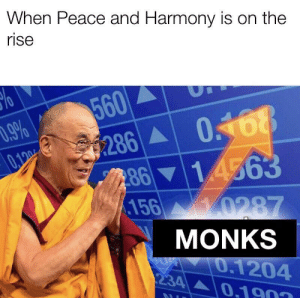 I too am extremely humble: When Peace and Harmony is on the  rise  560  9%  0168  286  8614563  156 0287  0.100  MONKS  0.1204  0.1903  234 I too am extremely humble
