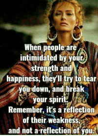 Memes, Break, and Wild: When people are  intimidated by your  strength and^  happiness, tliey try to tear  you down, and break  your spiri  Remember, it's a reflection  of their weakness  and not a reflection of you Do you agree? via The Wild Child
