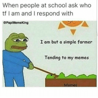 Memes, 🤖, and Papi: When people at school ask who  tf am and respond with  @Papi Memeking  I am but a simple farmer  Tending to my memes  Memos Memes make up %420 of my body