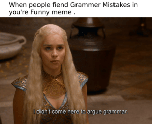 Arguing, Funny, and Meme: When people fiend Grammer Mistakes in  you're Funny meme  l didh't come here to argue grammar Looks at comments - *Fox (or Cat whatever it is) Staring Meme *
