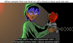 It looks like the hammer and sickle can't be made: When people find out that an elf's blood is blue and not red  Also, red is the only approved color...  Paragraph ninety-nine, clause seventy-eight. It looks like the hammer and sickle can't be made