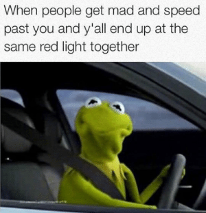 srsfunny:So We Meet Again Angry Stranger: When people get mad and speed  past you and y'all end up at the  same red light together srsfunny:So We Meet Again Angry Stranger
