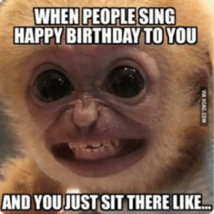 Me irl: WHEN PEOPLE SING  HAPPY BIRTHDAY TO YOU  AND YOU JUST SIT THERE LIKE.  VA SGAG.COM Me irl
