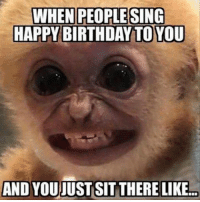 happy birthday meme: WHEN PEOPLE SING  HAPPY BIRTHDAY TO YOU  AND YOUJUST SIT THERE LIKE