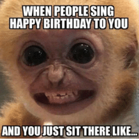 happy birthday meme: WHEN PEOPLE SING  HAPPY BIRTHDAY TO YOU  AND YOUJUST SITTHERE LIKE