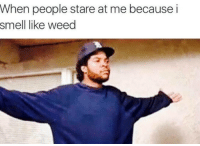 Memes, Smell, and 🤖: When people stare at me because i  smell like weed