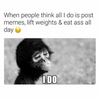 Ass, Memes, and Dank Memes: When people think all I do is post  memes, lift weights & eat ass all  day 4)  IDO 😔😔😔 GoodNighteth