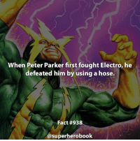 How many facts do you guys want me to post a day? - marvel superhero facts marvelfacts steverogers rocketracoon spiderman marveluniverse anime marvelstudios xmen thor nova avengers comics mcu marvelart marvelcomics teamcap civilwar teamironman ironman avengers spiderman chrisevans captainamerica spidermanhomecoming stanlee logan wolverine xmen peterparker ===================================: When Peter Parker first fought Electro, he  defeated him by using a hose.  Fact #938  @superherobook How many facts do you guys want me to post a day? - marvel superhero facts marvelfacts steverogers rocketracoon spiderman marveluniverse anime marvelstudios xmen thor nova avengers comics mcu marvelart marvelcomics teamcap civilwar teamironman ironman avengers spiderman chrisevans captainamerica spidermanhomecoming stanlee logan wolverine xmen peterparker ===================================