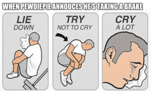 When he announced he's taking a brake from LinkedIn profile: WHEN PEWDIEPIEANNOUCES HES TAKINGABRAKE  TRY  CRY  A LOT  LIE  DOWN  NOT TO CRY When he announced he's taking a brake from LinkedIn profile