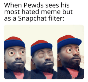 First post here, cut me some slack: When Pewds sees his  most hated meme but  as a Snapchat filter: First post here, cut me some slack